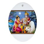 LORD KRISHNA KRISHN RADHA Ornament (Oval)