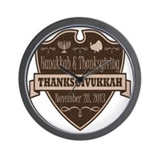 Brown Thanksgivukkah Wall Clock