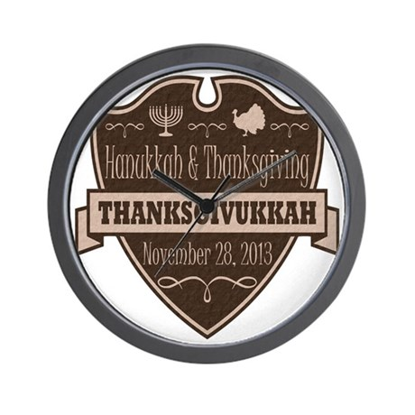 Brown Thanksgivukkah Wall Clock