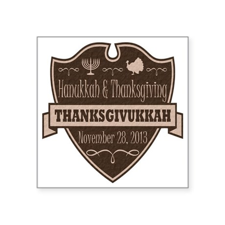 "Brown Thanksgivukkah Square Sticker 3"" x 3"""