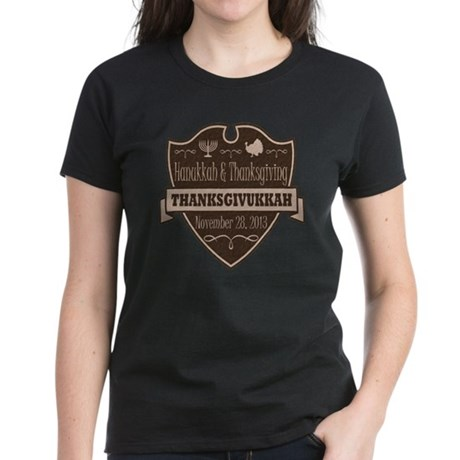 Brown Thanksgivukkah Women's Dark T-Shirt
