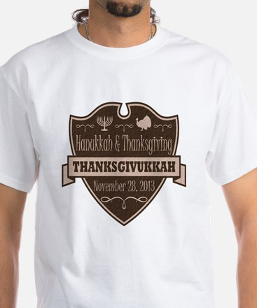 Brown Thanksgivukkah White T-Shirt