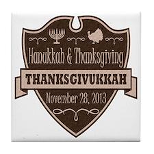 Brown Thanksgivukkah Tile Coaster