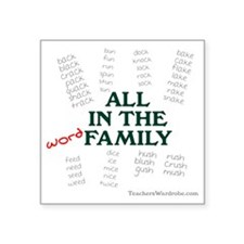 """Word Family Square Sticker 3"""" x 3"""""""