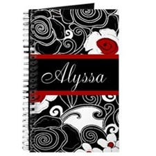 Black Red Floral Personalized Journal