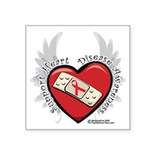 "Heart-Disease-New-Wings Square Sticker 3"" x 3"""