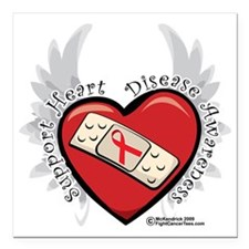 "Heart-Disease-New-Wings Square Car Magnet 3"" x 3"""
