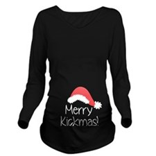 Merry Kickmas Long Sleeve Maternity T-Shirt