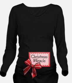Christmas Miracle Red Long Sleeve Maternity T-Shir