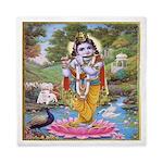 Krishna On Lotus Blossom Queen Duvet