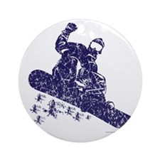 Snow-Boarder Round Ornament