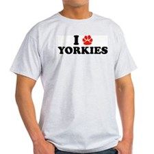 I Heart (Pawprint) Yorkies Ash Grey T-Shirt