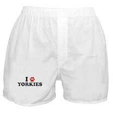 I Heart (Pawprint) Yorkies Boxer Shorts