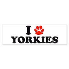 I Heart (Pawprint) Yorkies Bumper Bumper Sticker