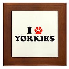I Heart (Pawprint) Yorkies Framed Tile