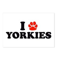 I Heart (Pawprint) Yorkies Postcards (Package of 8