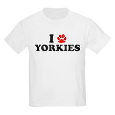 I Heart (Pawprint) Yorkies Kids T-Shirt