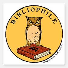 "Bibliophile Seal (w/ tex Square Car Magnet 3"" x 3"""