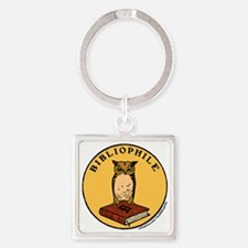 Bibliophile Seal (w/ text) Square Keychain