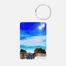 2-Christmas Horse MV7chho1 Aluminum Photo Keychain