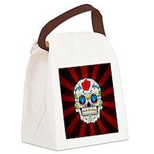 Red Rose Sunburst Sugarskull Canvas Lunch Bag