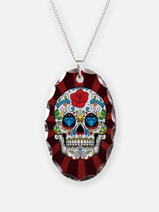Red Rose Sunburst Sugarskull Necklace