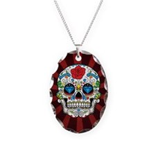 Red Rose Sunburst Sugarskull Necklace Oval Charm