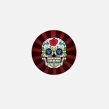 Red Rose Sunburst Sugarskull Mini Button