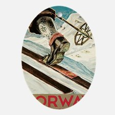 Norway The Home Of Skiing Oval Ornament