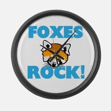 Foxes rock! Large Wall Clock