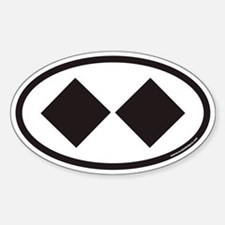 Double Black Diamond Ski Trail Euro Oval Bumper Stickers