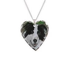 Border Collie Necklace Heart Charm