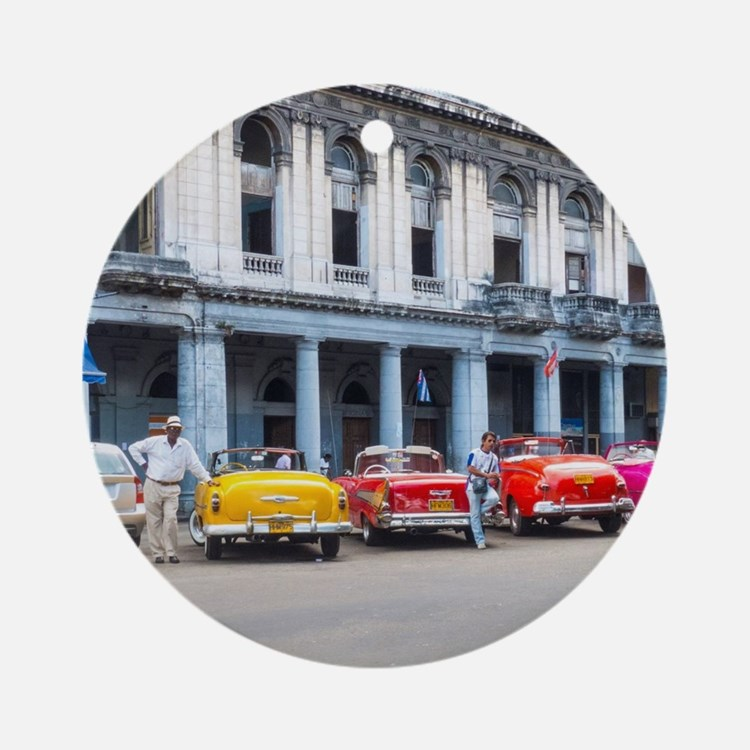 Cars of Havana Round Ornament