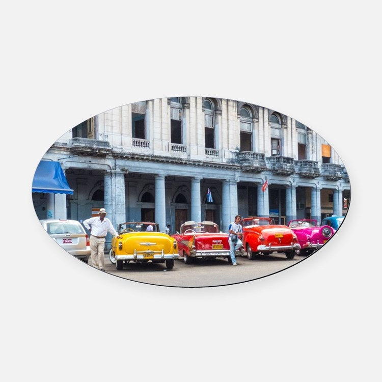 Cars of Havana Oval Car Magnet