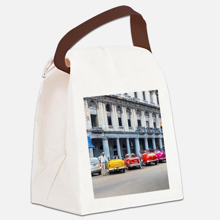 Cars of Havana Canvas Lunch Bag