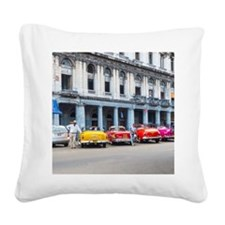 Cars of Havana Square Canvas Pillow