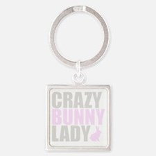 CRAZY BUNNY LADY 2 CLEAR copy Square Keychain