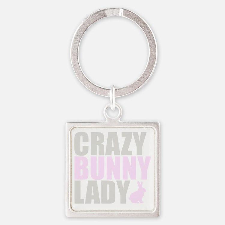 CRAZY BUNNY LADY 2 CLEAR copy Square Keychain