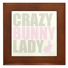 CRAZY BUNNY LADY 2 CLEAR copy Framed Tile