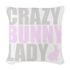 CRAZY BUNNY LADY 2 CLEAR copy Woven Throw Pillow