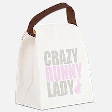 CRAZY BUNNY LADY 2 CLEAR copy Canvas Lunch Bag