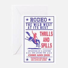 rodeo cowboy riding bucking bronco p Greeting Card