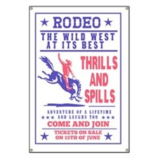 rodeo cowboy riding bucking bronco poster Banner