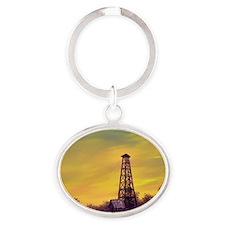 old derick sunset magnet Oval Keychain