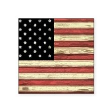 """Woodcut US Flag note cards Square Sticker 3"""" x 3"""""""