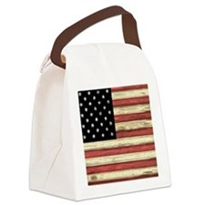 Woodcut US Flag note cards Canvas Lunch Bag
