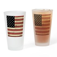 Woodcut US Flag note cards Drinking Glass