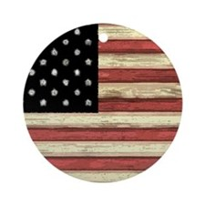 Woodcut US Flag note cards Round Ornament