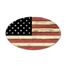 Woodcut US Flag note cards 35x21 Oval Wall Decal