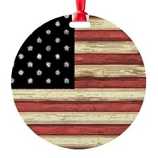 Woodcut US Flag note cards Ornament